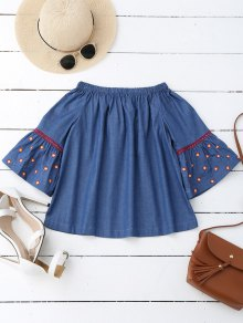 Flare Sleeve Embroidered Off Shoulder Blouse - Denim Blue S