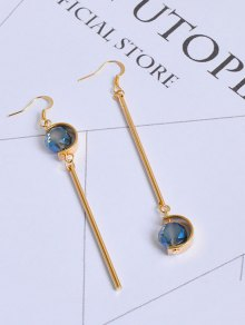 Faux Sapphire Ball Bar Hook Earrings
