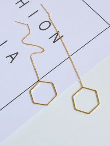 Metal Hexagon Chain Drop Earrings - Golden