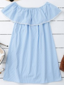 Stripes Lace Trim Off Shoulder Mini Dress