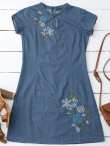 Floral Embroidered Mini Denim Dress