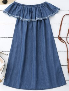 Embroidered Off Shoulder Mini Dress