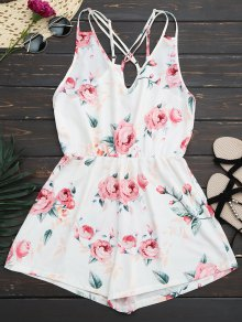 Criss Cross Cami Floral Romper - White