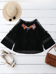 Embroidered Crochet Panel Cold Shoulder Blouse