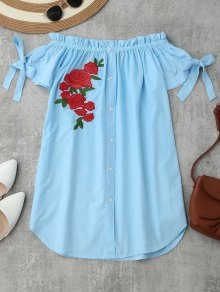 Floral Embroidered Off Shoulder Mini Dress