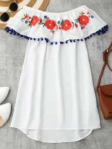 Embroidered Ruffles Off Shoulder Mini Dress - White