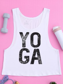 Yoga Dropped Armhole Sports Tank Top - White