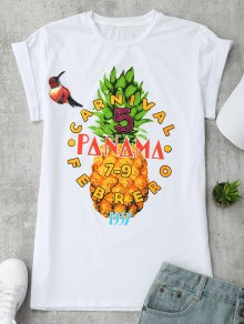 Patched Pineapple Letter T-Shirt - White S