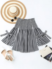 Checked Smocked Off Shoulder Casual Dress