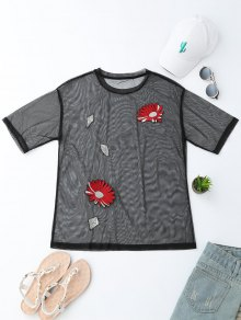 Floral Embroidered See-Through Mesh Top