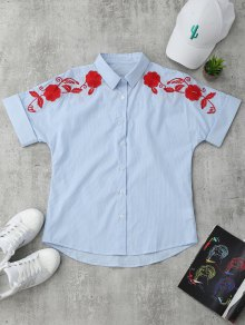 Short Sleeve Floral Embroidered Stripes Shirt - Stripe L