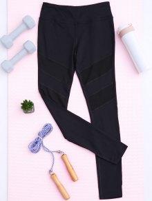 Mesh Insert Sports Leggings - Black L