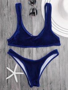 Velvet Bralette Scoop Bikini Set - Royal Blue