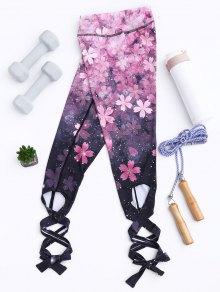 Cut Out Print Tie Hem Dancing Leggings