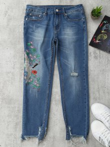 Bird Floral Embroidered Ripped Jeans