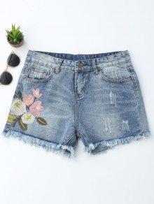 Embroidered Ripped Cutoffs Denim Shorts