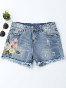 Embroidered Ripped Cutoffs Denim Shorts