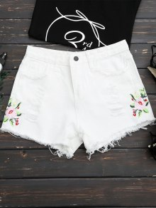 Frayed Hem Floral Embroidered Ripped Shorts