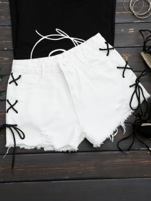 Frayed Side Lace Up Ripped Denim Shorts - White S