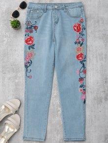 Skinny Floral Embroidered Pencil Jeans - Denim Blue M
