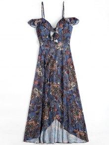 Floral Asymmetrical Cold Shoulder Beach Dress