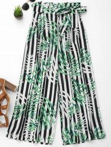 Stripes Leaves Print Wide Leg Pants - M