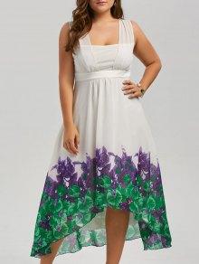 فستان الحجم الكبير شاطئ طباعة شيفون طويل متدفق - أبيض Xl
