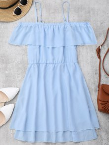 Ruffles Chiffon Cold Shoulder Mini Dress