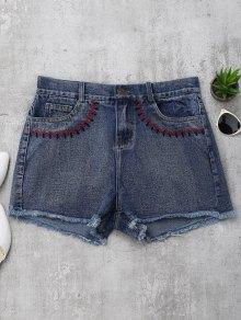 Embroidered Cutoffs Denim Shorts