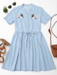 Belted Floral Embroidered Casual Dress
