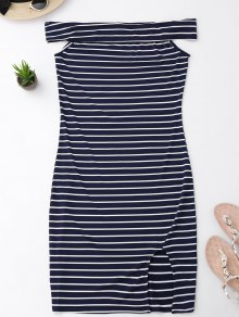 Side Slit Off Shoulder Striped Bodycon Dress - Stripe M