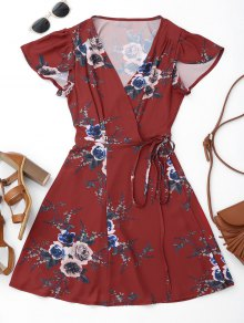 Floral Beach Wrap Mini Dress