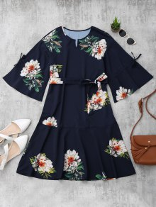 Flare Sleeve Belted Floral A-Line Dress
