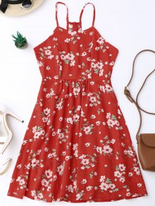 Cami Tiny Floral Smock Dress - Red