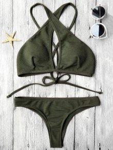 Rib Texture Keyhole Wrap Bikini Set - Deep Green M