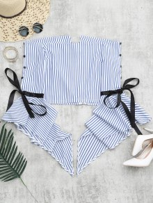 Zippered Flare Sleeve Off Shoulder Striped Blouse