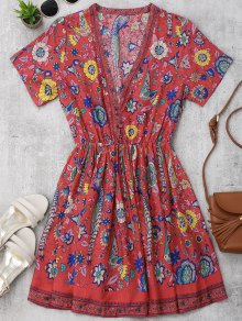 Floral Half Buttoned A-Line Dress
