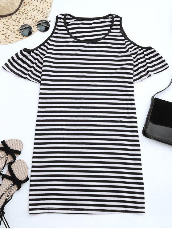 outfits Cold Shoulder Striped T-shirt Dress - BLACK S