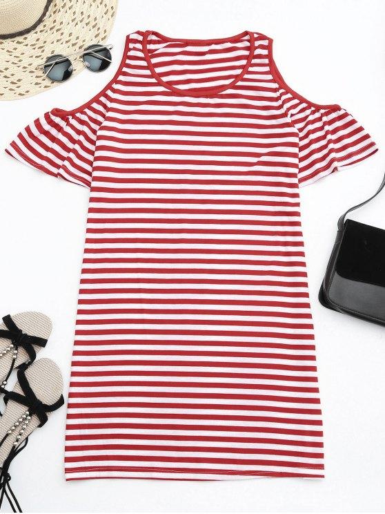 fancy Cold Shoulder Striped T-shirt Dress - RED S