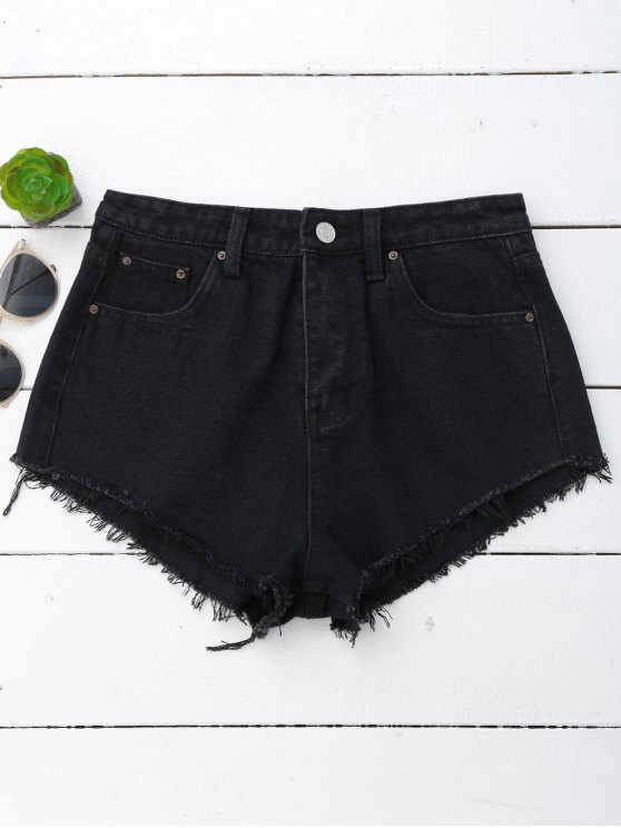 Denim Cutoffs Mini Shorts - Negro L