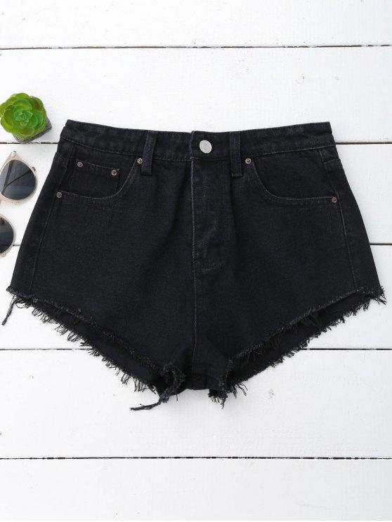 chic Denim Cutoffs Mini Shorts - BLACK M