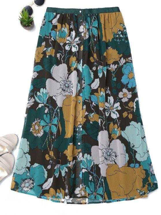 Botón hasta la falda floral de una línea - Floral S