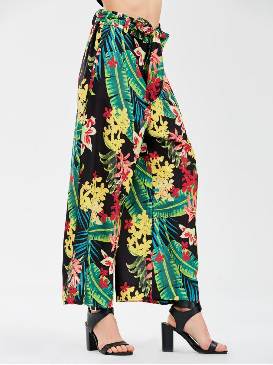 chic Floral Wide Leg Pants With Tie Belt - FLORAL L