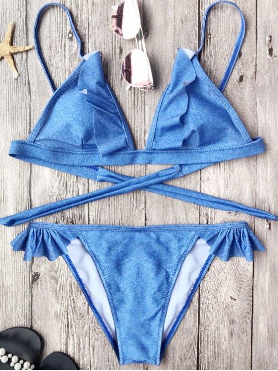 women Soft Pad Frilly String Bikini Set - BLUE M