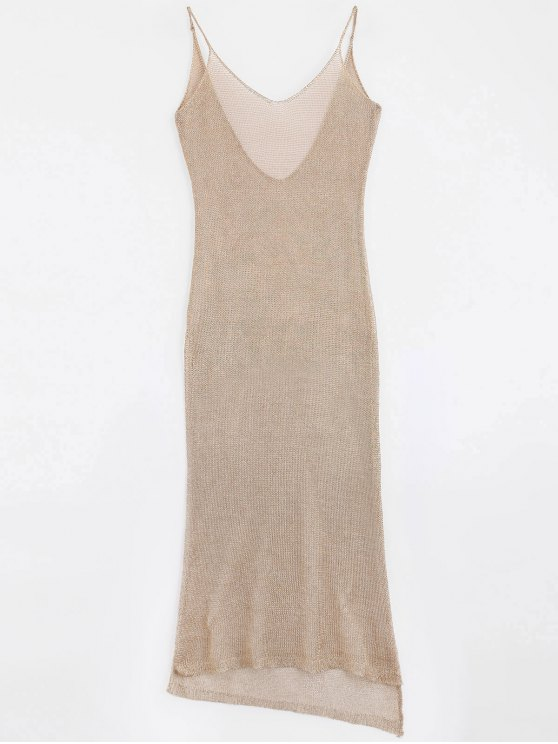 affordable High Slit Cami Maxi Cover Up - ROSE GOLD ONE SIZE