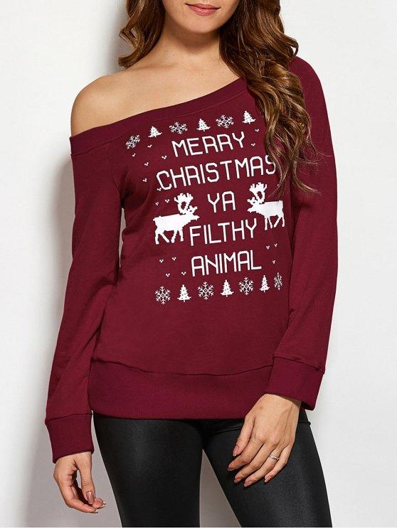 fancy Reindeer Snowflake Christmas Sweatshirt - WINE RED S