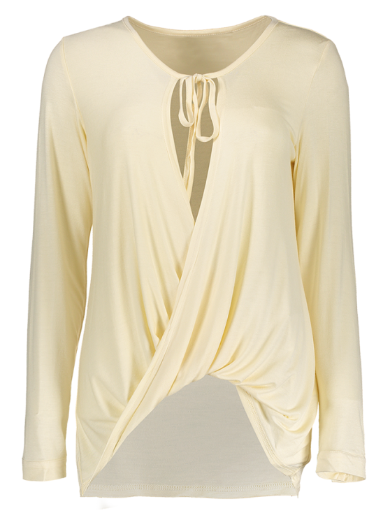 Twisted Front Long Sleeve T-Shirt - OFF-WHITE M Mobile