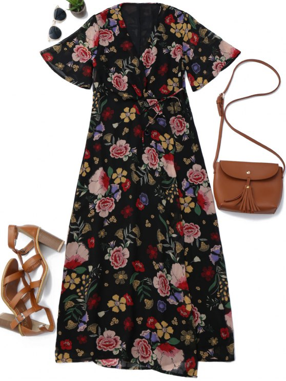 women's Floral Wrap A Line Maxi Dress - FLORAL L