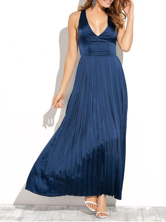best Cut Out Low Cut Maxi Long Prom Dresses - BLUE XL