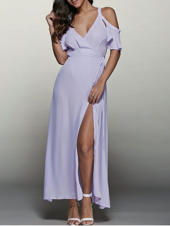 unique High Furcal Wrap Sexy Prom Dress - LIGHT PURPLE M